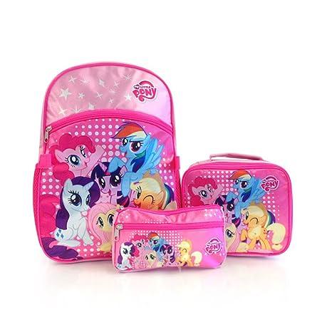 Kit Hasbro Econo 3pc - My Little Pony Kids - Mochila, riñonera y estuche de