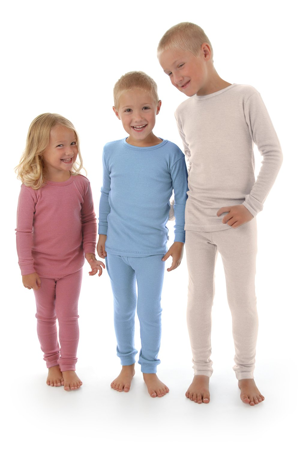 Merino Wool Kid White boy and Girl. Thermal Underwear Base Layer Unisex. Size 6