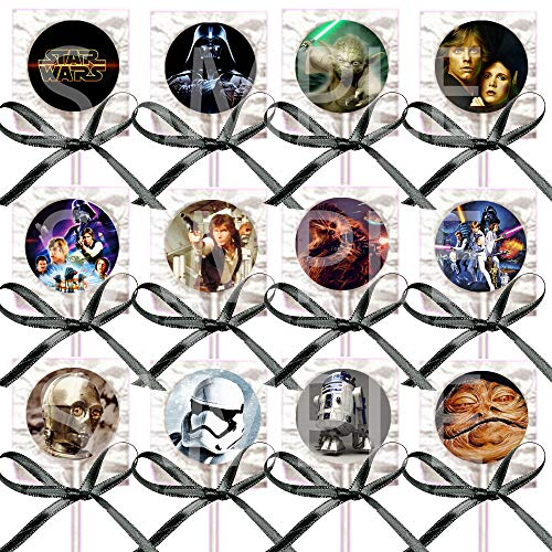Star Wars Lollipops Party Favors Supplies Suckers with Black Ribbon Bows Party Favors -12 pcs, Princess Leia, Hans Solo, Yoda, Luke Skywalker A New Hope Empire Strikes Back Return of the Jedi ()