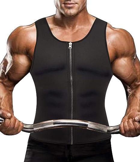 Image of SLIMBELLE Hombre Neopreno Chaleco Modelador Sauna Camiseta Sudoración Faja Reductora Adelgazante Quema Grasa Sudoración Musculación para Deportivo Entrenamiento