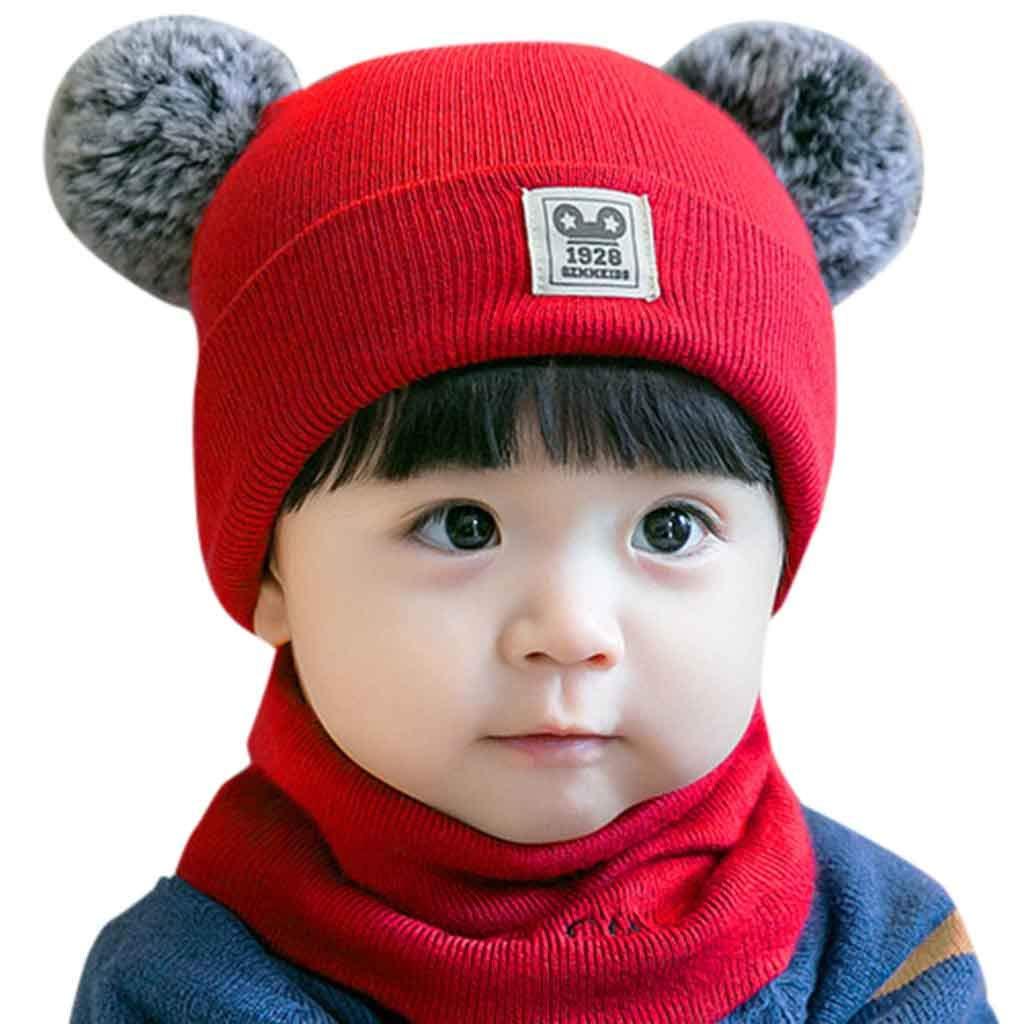 Little Kid Winter Warm Hat,Jchen(TM) Newborn Kid Baby Boy Girl Pom Hat Winter Warm Knit Crochet Beanie Cap Scarf Set for 0-2 Years Old (Red)
