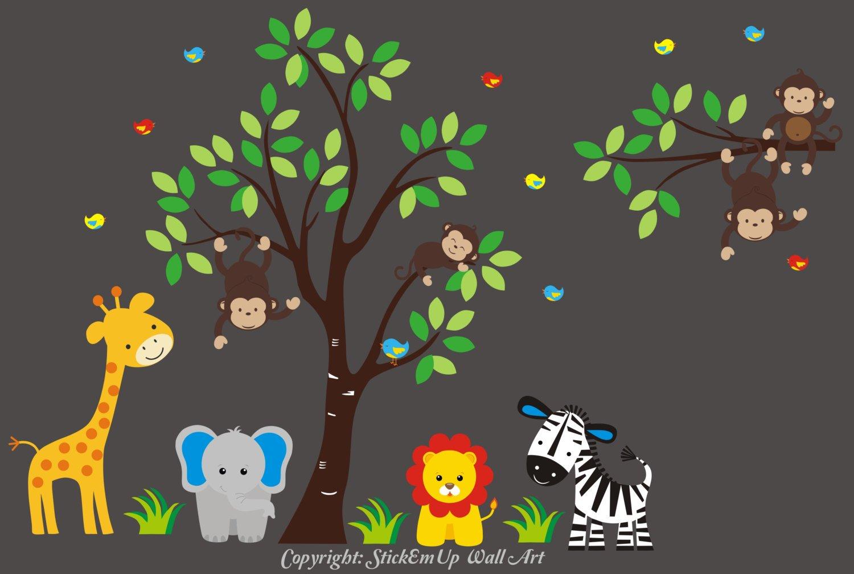 Wall Decals Nursery - Kid's Room Wall Stickers - Safari Animal Wall Decals - Large Animal Stickers - Jungle Wall Decals - Nursery Gift - Nursery Theme - Baby Cute
