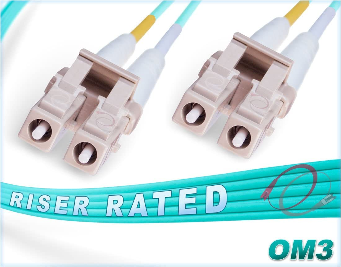 100M OM3 LC LC Fiber Patch Cable | 10Gb Duplex 50/125 LC to LC Multimode Jumper 100 Meter (328ft) | Length Options: 0.5M-300M | FiberCablesDirect | Alt: mmf lc-lc dx mm ofnr aqua 10g lc/lc cord 61GYozRRTfL