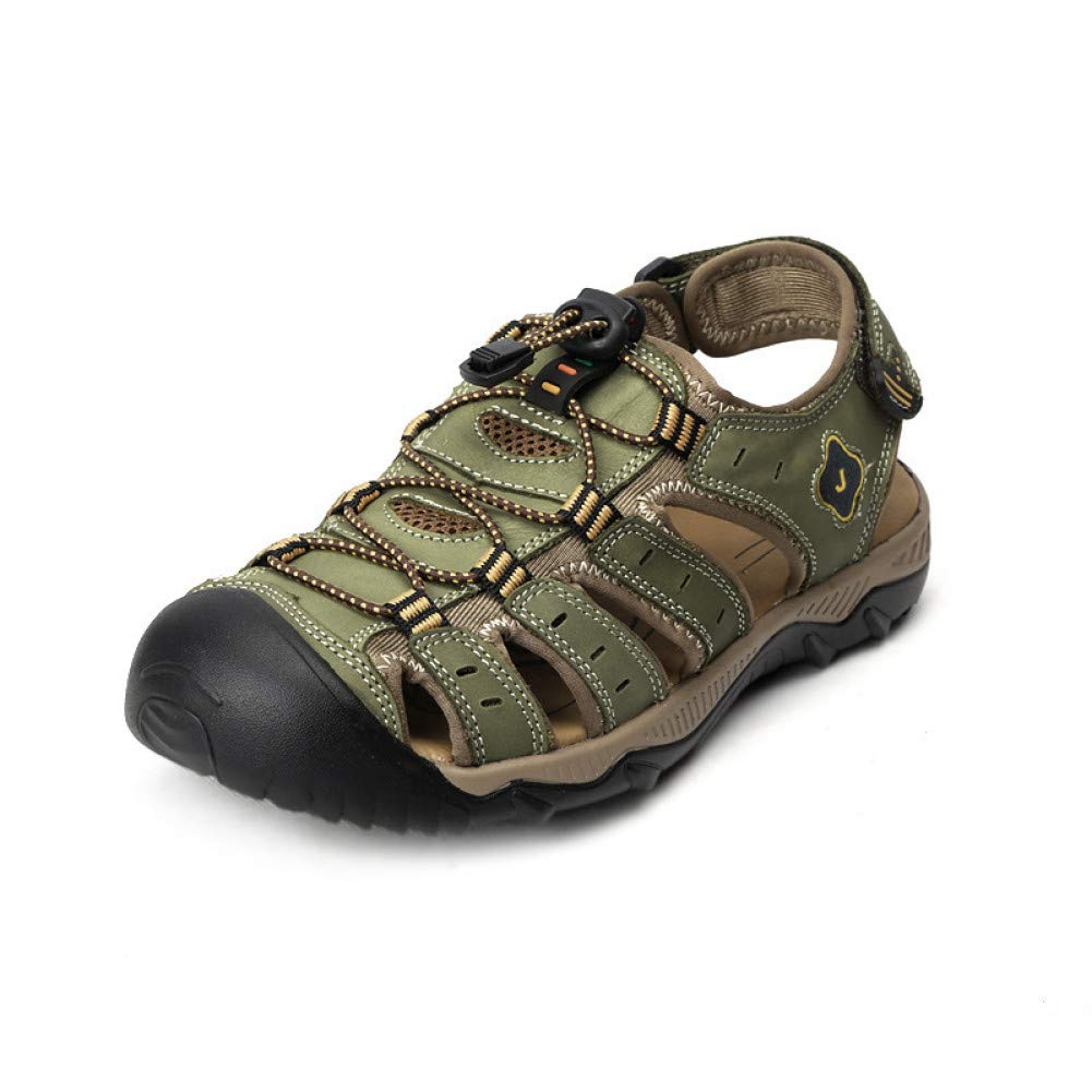 Khaki GJLIANGXIE Men'S Sandals Summer New Men'S Beach shoes Sandals Men'S First Layer Leather Beach shoes Large Size Sandals Outdoor Beach Vacation