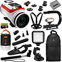 TomTom Bandit 4K GPS Action Camera 32GB Accessory Kit w/ 12800mAh Power Bank + Selfie Stick + LED + X-Grip Handle + Backpack + Chest Strap + Suction Cup Car Mount + Video Light + Wrist Strap