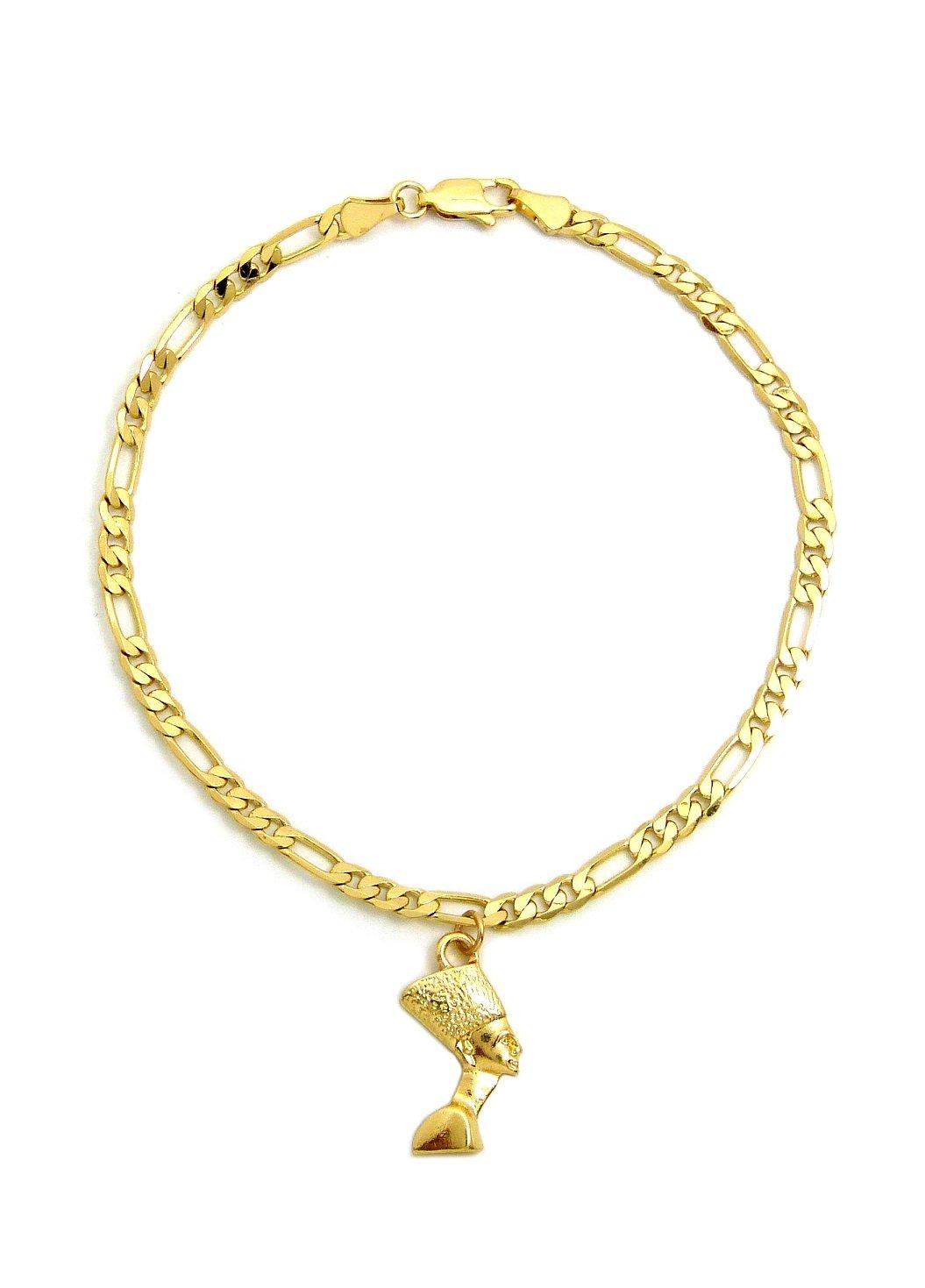Fashion 21 Women's Cross, Ankh, Queen Nefertiti Piece 10'' Figaro Chain Anklet Foot Bracelet in Gold Tone (Side Face Nefertiti/Figaro)