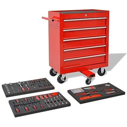 binzhoueushopping Carrito de Herramientas 269 Herramientas Acero Rojo para Almacenar y Transportar,Cajas de Herramienta