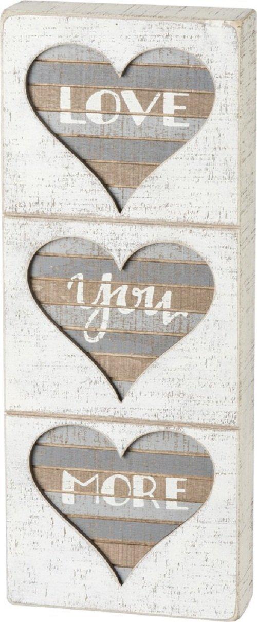 Amazon Com Primitives By Kathy Love You More Hearts Slat Box Sign