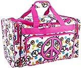 Ever Moda Peace Sign Medium Duffle Bag (Pink)
