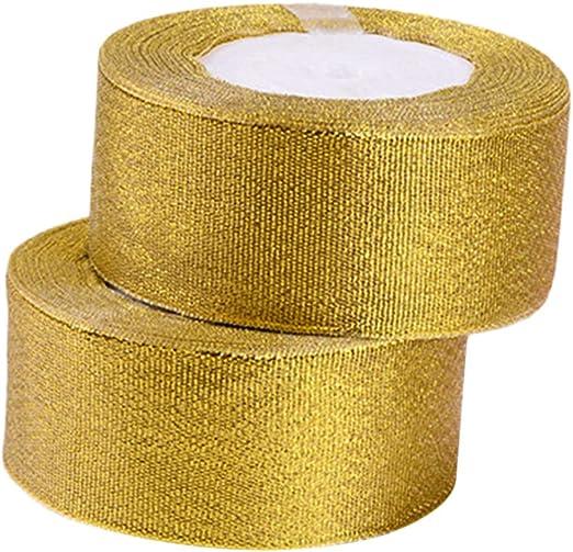 Healifty cintas de oro cintas de brillo metálico para regalos envoltura decoraciones artes manualidades bricolaje 2 rollos: Amazon.es: Hogar