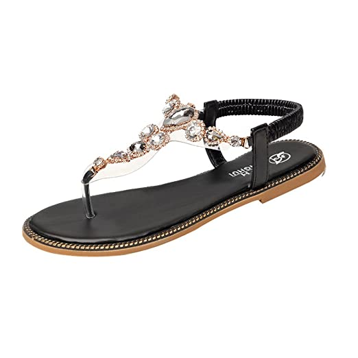 625fa7fae672d Amazon.com: Sumen Clearance! Women Rhinestone Flat Sandals with T ...