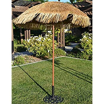Bayside  Hula Thatched Tiki Umbrella Natural Color