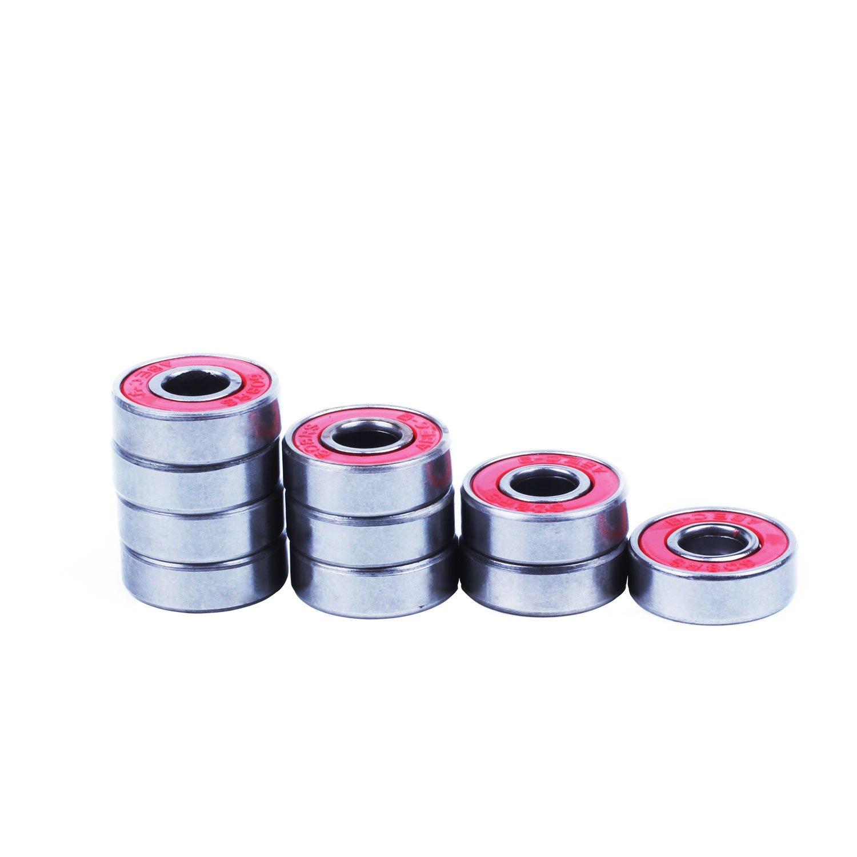 Rodamientos - TOOGOO(R)10 x roja cubierta ABEC-7 Rodamientos 22*7*8mm