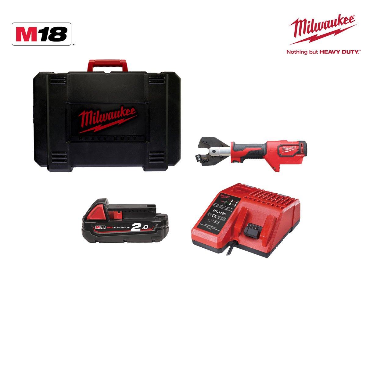 Milwaukee 4933451196 - M18 hccac-201c cu/al set cortadora m18 hidráulica cables de acero 1 bat 2,0ah y maletín: Amazon.es: Bricolaje y herramientas
