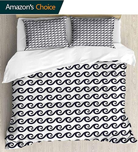 shirlyhome Geometric European Style Print Bed Set,Curlicue Design Wavy Ocean Pattern Aquatic Travel Cruise Theme Maritime 100% Cotton Bedspread/Quilt Set,3 Pieces 87