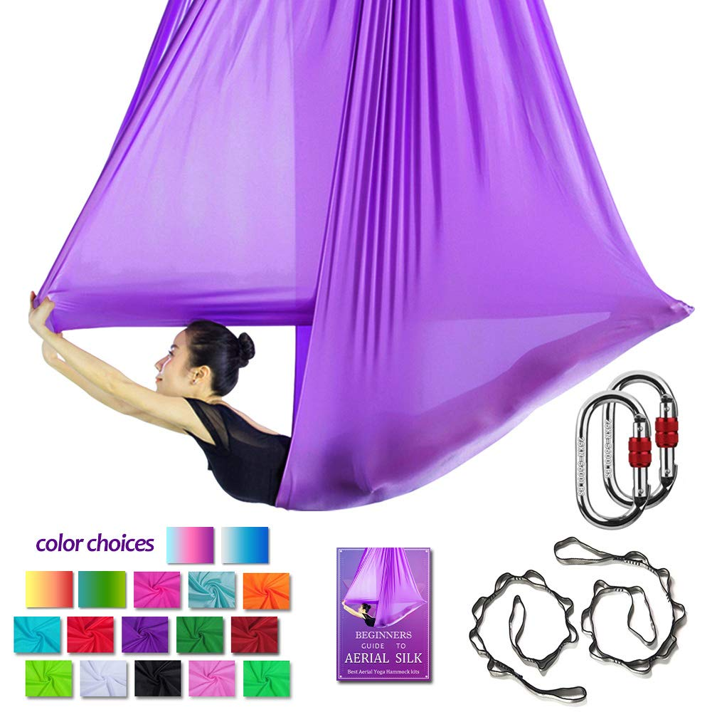 Aerial Yoga Hammock L:5M W:2.8M Aerial Pilates Silk Yoga Swing Set with 2000Ibs Load Include Carabiner,Daisy Chain, Pose Guide (Deep Purple)