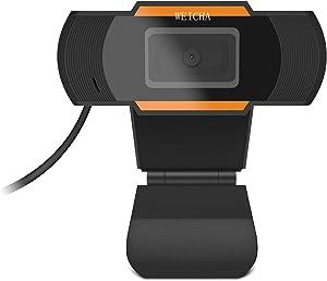1080P HD Webcam with Microphone, Webcam for Conferencing, Laptop or Desktop Webcam, USB Computer Camera for Mac, Free-Driver Installation Fast Autofocus 5 Million Pixels Orange