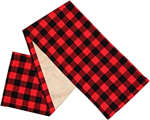 Hli-SHJHsmu Black Red Checkered Tablecloth Table Flag Sewing Table Flag Desktop Decoration Durable No Fading,Pattern Design. Double-Sided Reversible Soft,Comfortable37X183Cm,15 X 72 Inches