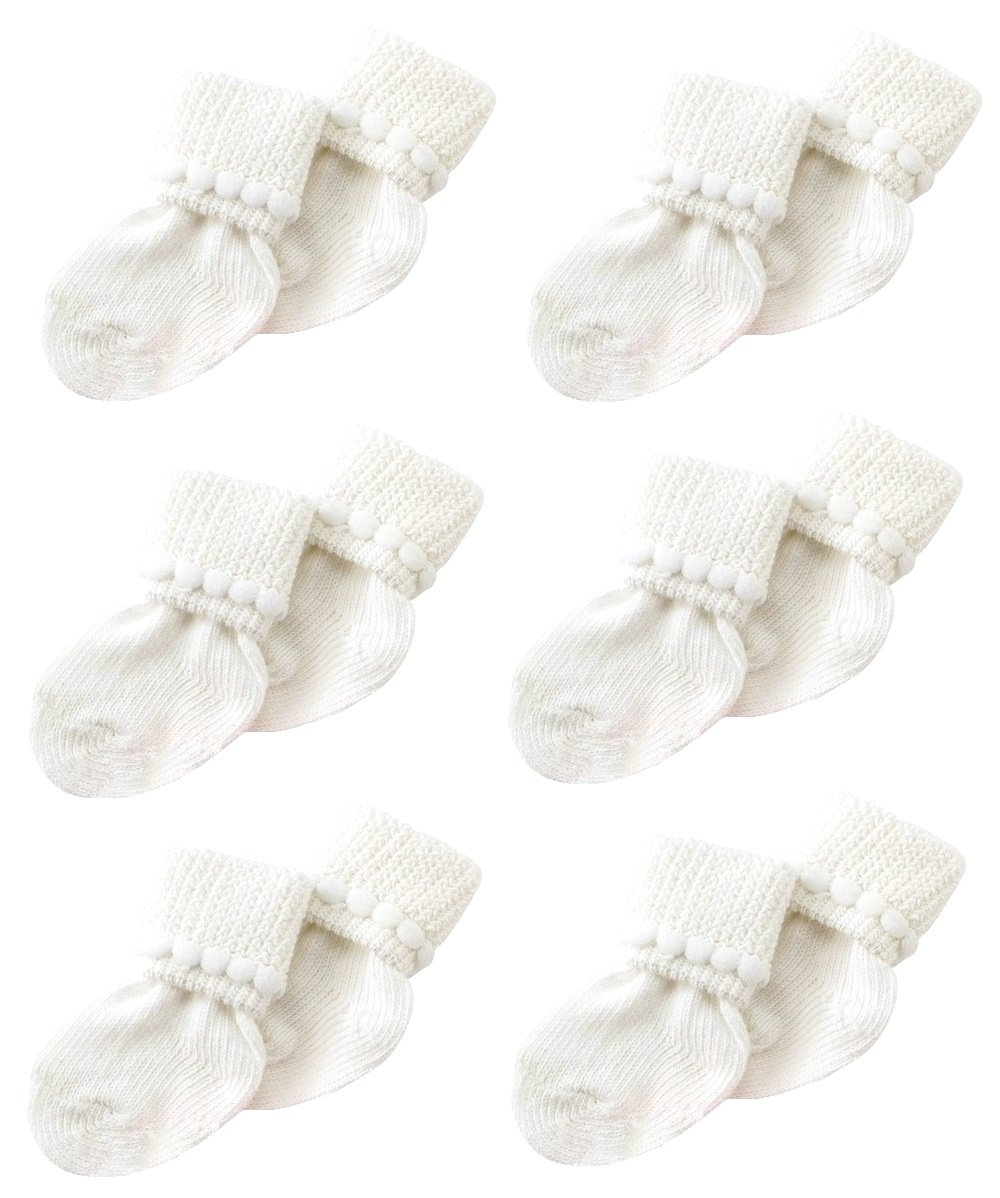White Newborn Baby Socks By Nurses Choice - Includes 6 Pairs of Unisex Cotton Socks