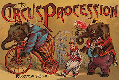 Circus Animals Print - The Circus Procession 1888 Vintage Reproduction Elephant Animal Print Poster 11x14