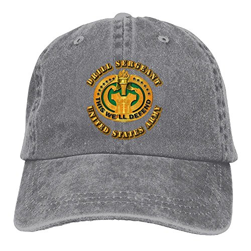 Endool Army Drill Sergeant Mens Cotton Adjustable Washed Twill Baseball Cap Hat