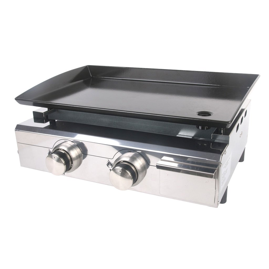 ITOPKITCHEN Outdoor Gas Plancha BBQ 2 Burners LPG Grill Steel CE Enameled cast iron UK stocked party tabletop oven 5000W