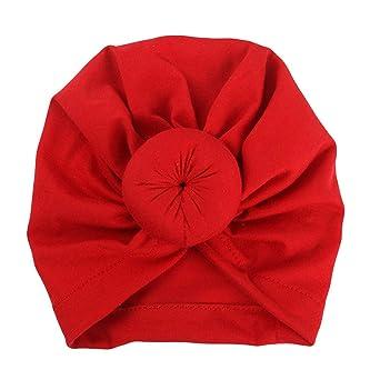 comment trouver original à chaud choisir l'original Bonnet Turban Bébé, Mamum Bonnet Noeud Turban en Coton Bandeau Naissance  Mignon pour Bébé Fille Nouveau-né (rouge)