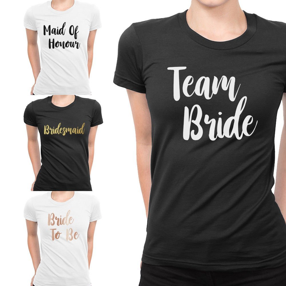 Personalised Team Bride T Shirts Hen Party Bride Wedding Hen Do Night Crew  Squad Tee Top