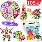 Kingstar Magnetic Building Blocks Toys Set,108Pcs Educational Magnet Bricks Tiles Building Construction Stacking Block Toy Kit with Storage Box for Kid Toddlers