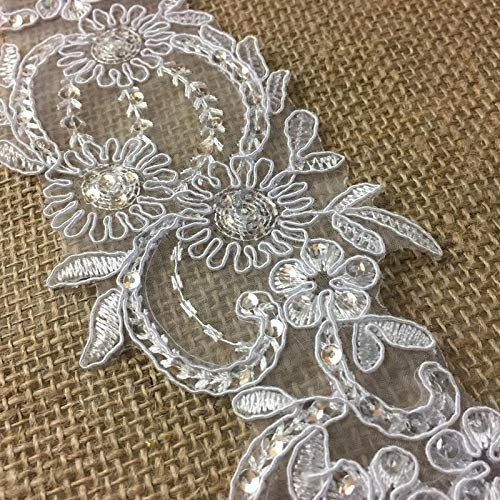 - Bridal Lace Trim Alencon Embroidered Corded Sequined Organza, Beautiful Quality, 3