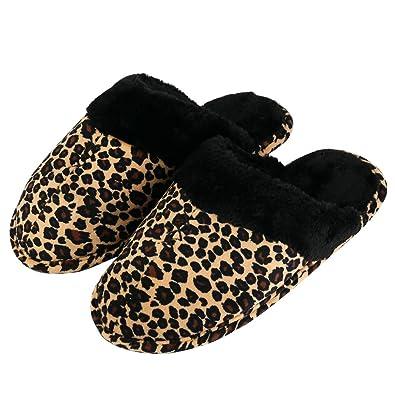 ef56d6c9d4f73 Amazon.com | Womens Winter Warm Indoor Slipper Women Leopard Pattern ...