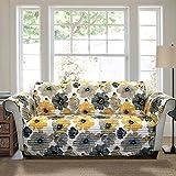 Furniture Best Deals - Lush Decor Leah Furniture Protector, Sofa, Yellow/ Gray