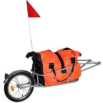 TecTake Remolque de bicicleta bici para el transporte de cargas reclinada monociclo con bolsa