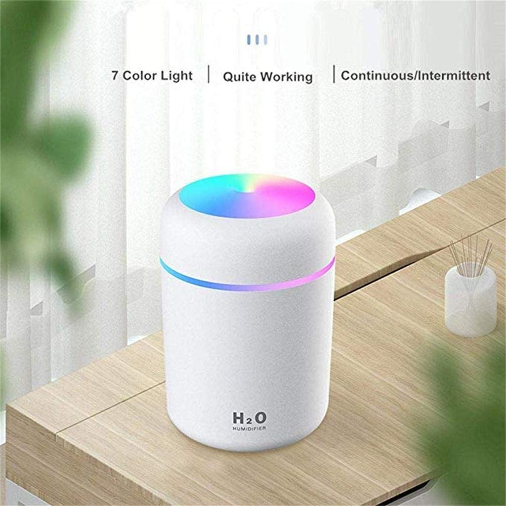 JoCome Portable Mini Humidifier USB Personal Desktop Humidifier for Baby Bedroom Travel Office Home,Super Quiet 300ml Small Cool Mist Humidifier with Night Light