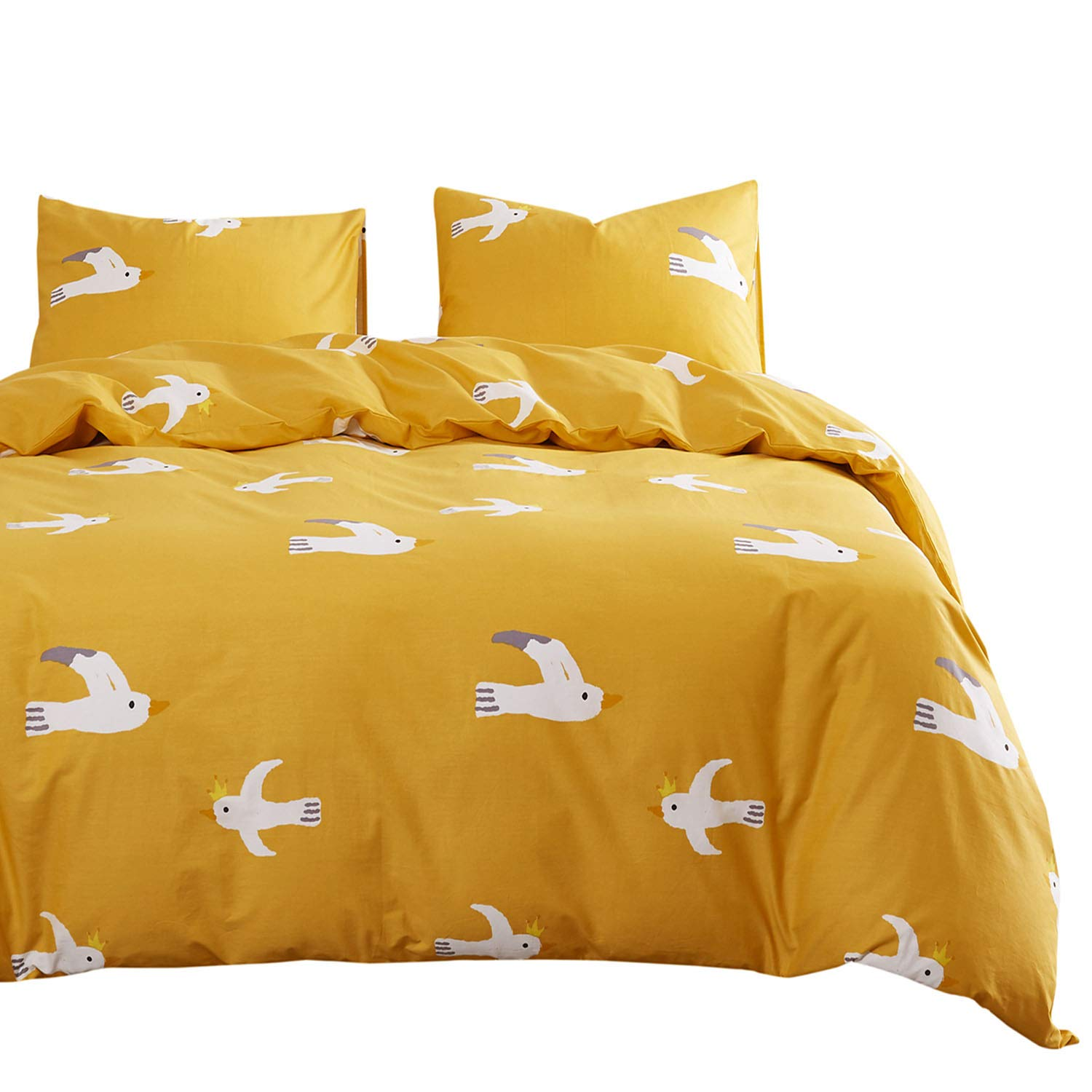 Wake In Cloud - Birds Comforter Set, White Birds Pattern Printed on Yellow,100% Cotton Fabric with Soft Microfiber Inner Fill Bedding (3pcs, Queen Size)
