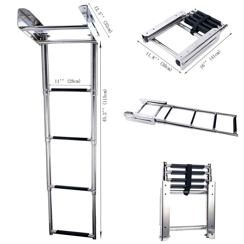 FBA Amarine-made 4-Step Stainless Steel Under Platform Slide Mount Boat Boarding Telescoping Ladder