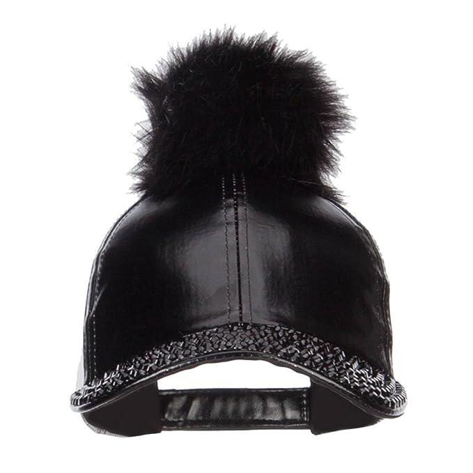 f01f4c8d585 SS Hat PU Jewel Cap With Pom Pom - Black Black OSFM at Amazon ...