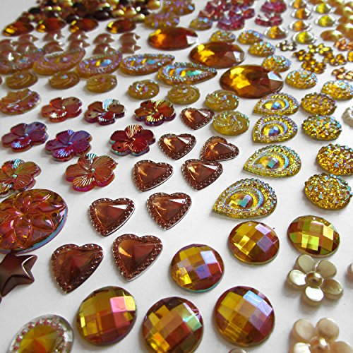 Olivia Pearl Designs 400 Pcs of Assorted Gold Brown Pearl Finish, Iridescent Flat Back Tear Drop Beads Cabochons Assorted Sizes 4mm-18mm Flat Teardrop Beads