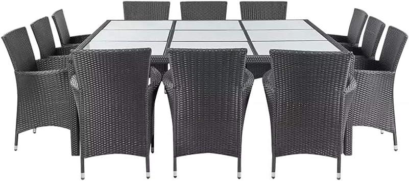 Xinglieu Kit Table Chaises de Jardin 25 pièces en polyrotin ...