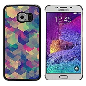 LECELL--Funda protectora / Cubierta / Piel For Samsung Galaxy S6 EDGE SM-G925 -- Teal Pink White Purple Pattern --