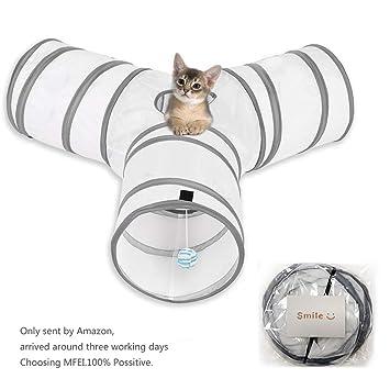 Cat Play Tunnel, MFEI Pet Tunnel 3 Way Crinkle Tubo plegable Toy Tunnel para gatos Conejos, perros, mascotas: Amazon.es: Productos para mascotas