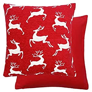 2 X CHRISTMAS REINDEER STAG DEER CHENILLE RED WHITE THICK CUSHION COVERS 18""