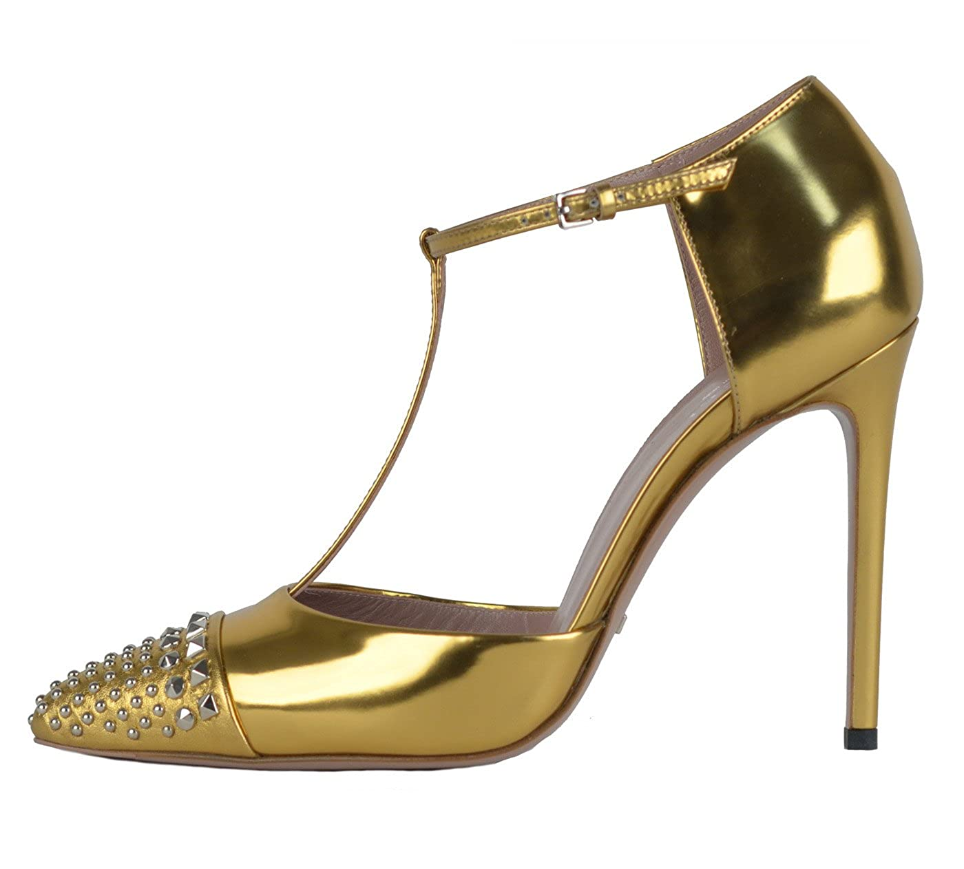 5de16af3a82 Amazon.com  Gucci Shoes Coline Studded Gold Leather T-Strap Pumps (IT 37   US  7)  Shoes