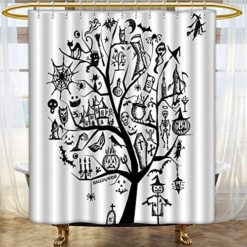 (Mikihome Shower Curtains Fabric Sketch Style Halloween Tree with Spooky Objects and Wicked Bathroom Decor Set with Hooks W72 x H72)