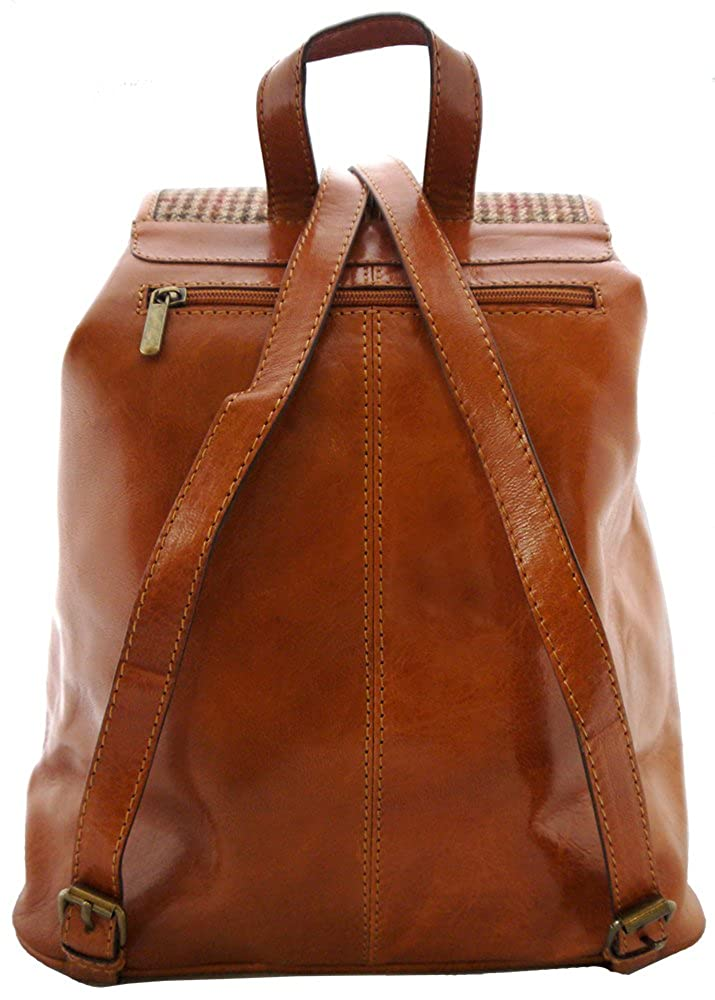 Hand-made Premium Leather and Tweed Rucksack backpack Tan and Brown