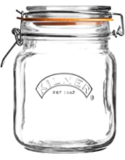 Kilner Square Glass Clip Top Jar with Airtight Rubber Seal, 1 Litre