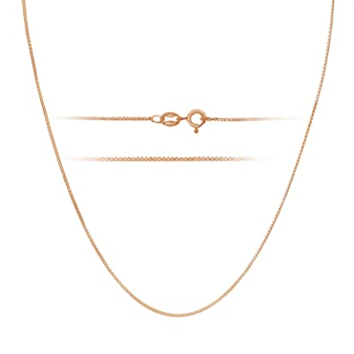 Amazoncom Rose Gold Plated Sterling Silver Necklace 1mm Box