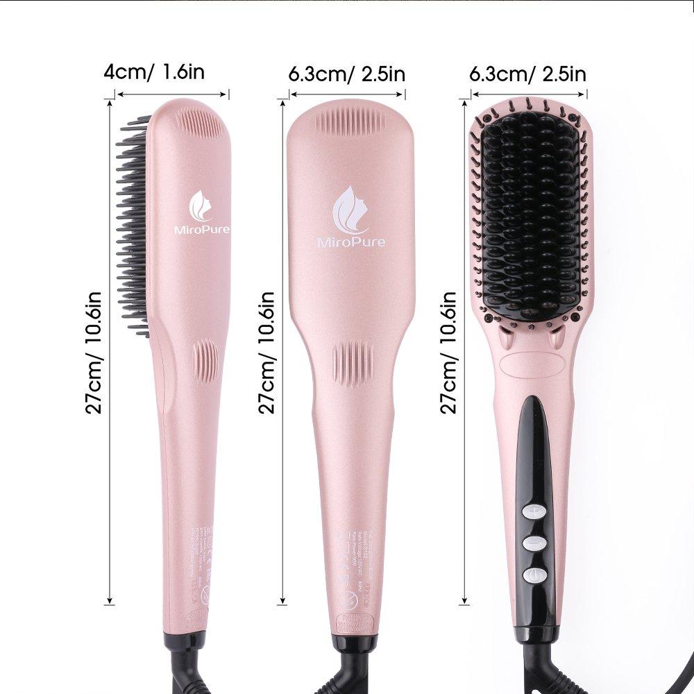 Enhanced Hair Straightener Heat Brush by MiroPure, 2-in-1 ...
