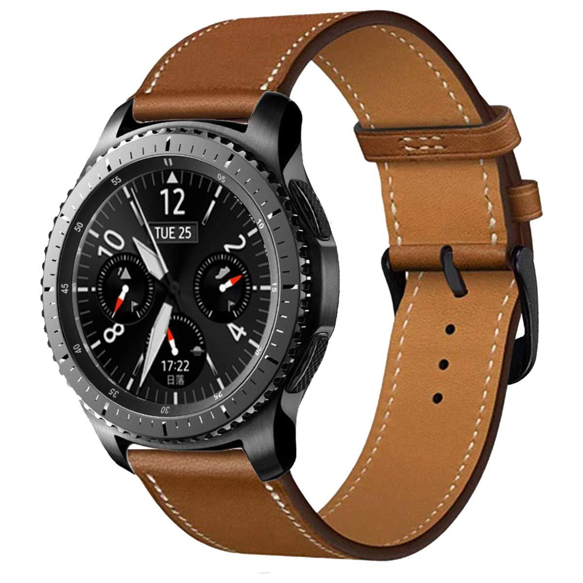iBazal 22mm Correa Cuero Liberación Rápida Pulseras Compatible con Samsung Galaxy Watch 46mm,Gear S3 Frontier Classic,Huawei GT/2 Classic/Honor ...