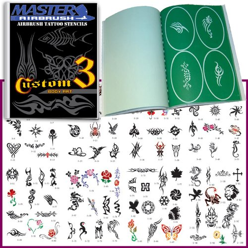 Master Airbrush Brand Airbrush Tattoo Stencils Set Book #3 Reuseable Tattoo Template Set, Book Contains 100 Unique Stencil Designs, All Patterns Come on High Quality Vinyl Sheets with a Self Adhesive Backing.
